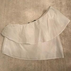 Zara white one shoulder crop top